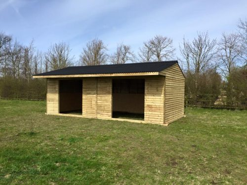 12x24 Field Shelter Weatherboard Timber Apex Roof