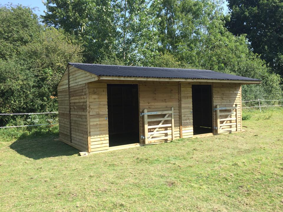 24 x 12 Field Shelter Weatherboard Timber Apex Roof with Gates